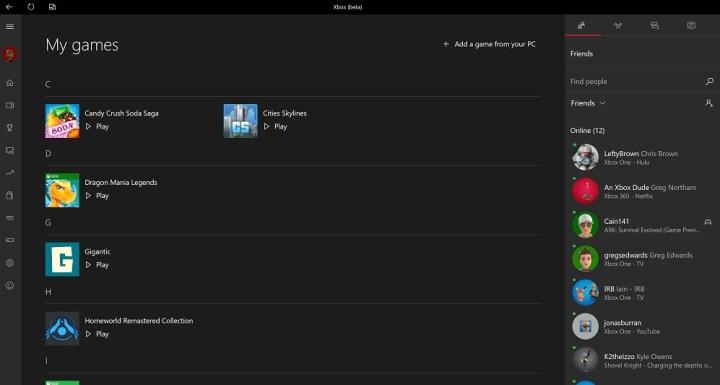 Windows 10 xbox app games