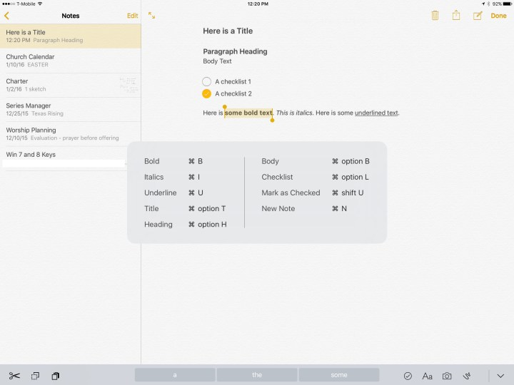 ipad pro keyboard shortcuts in notes