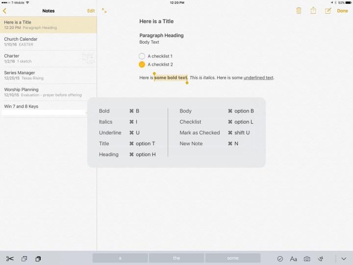 ipad pro keyboard shortcuts in notes