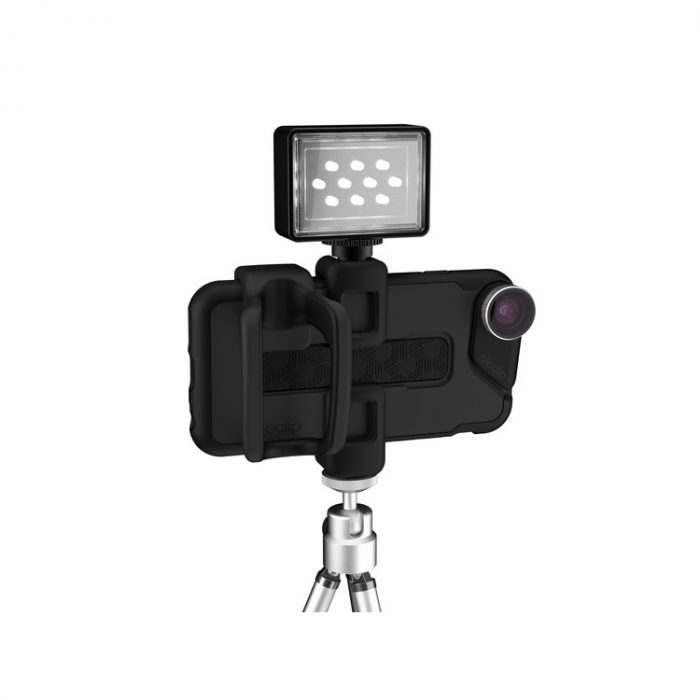 olloclip studio on tripod with hotshoe