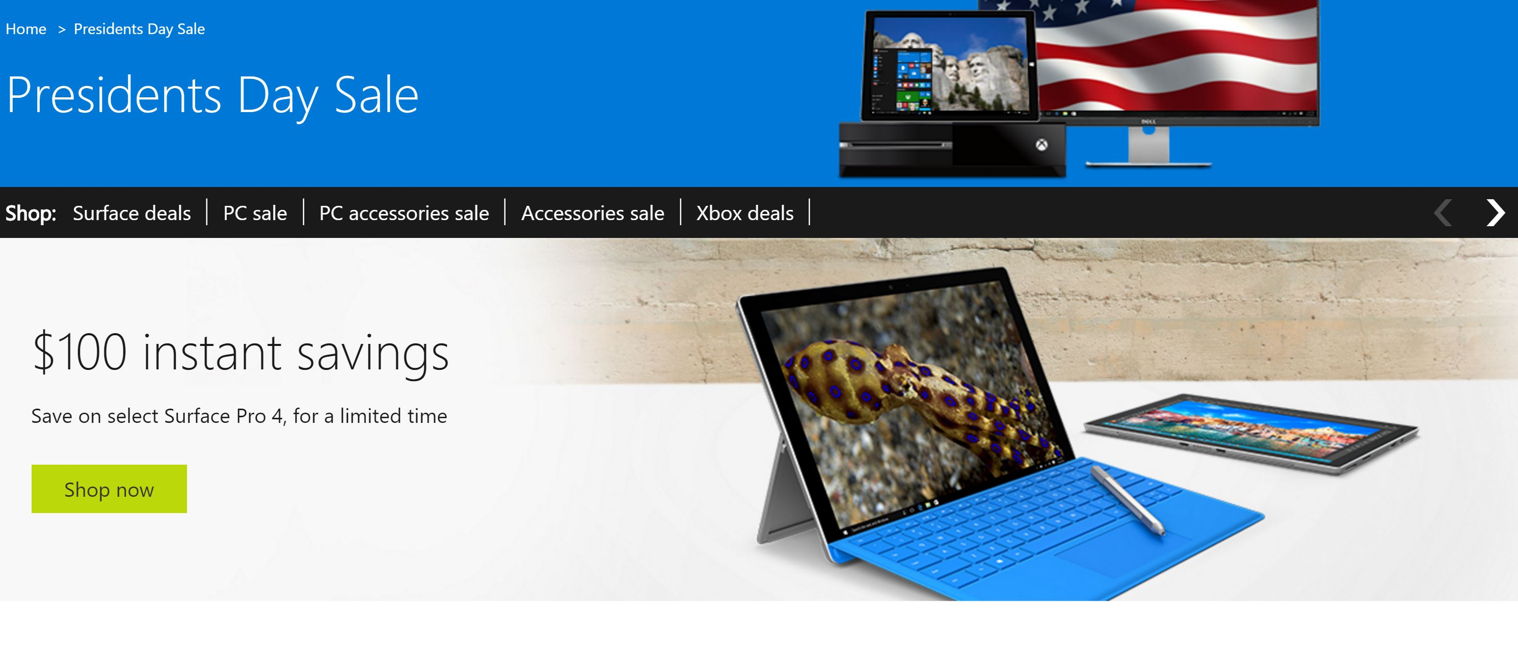 President's Day Sale Stuffed with Surface Pro 4 Price Cut