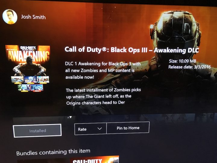 With all the new maps the Xbox One Awakening Black Ops 3 DLC size is smaller than expected.