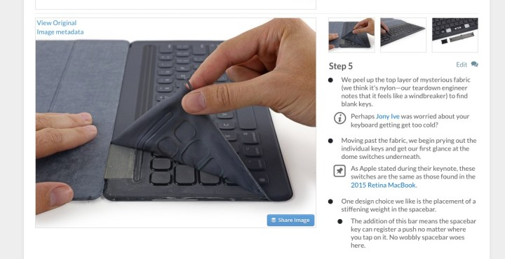 iFixit's Apple Smart Keyboard teardown shows the unique key technology.