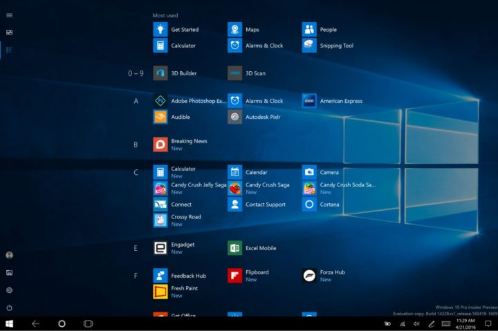 Windows 10 Start Screen