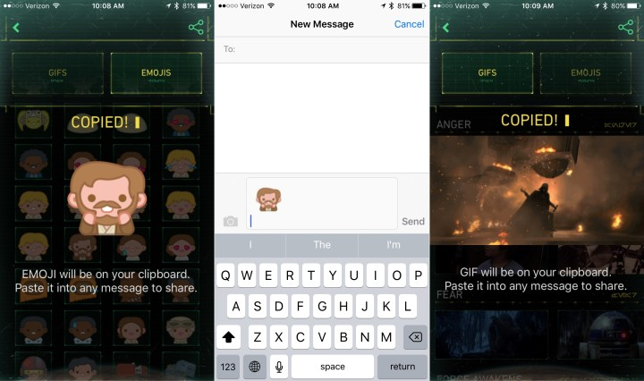 Send Star Wars Emoji and Star Wars Gifs.