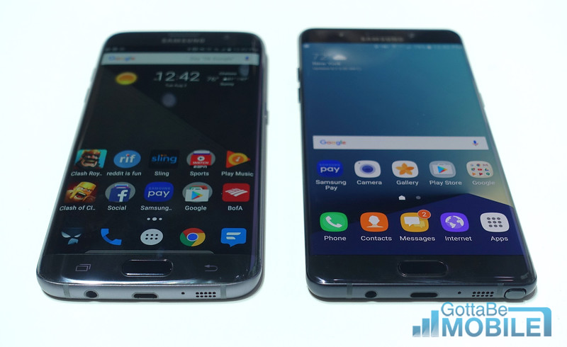 Galaxy S7 Edge (left) vs Note 7 (Right)