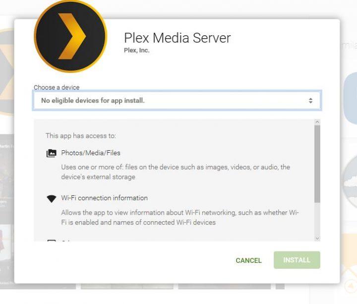 plex media server app install from google play store