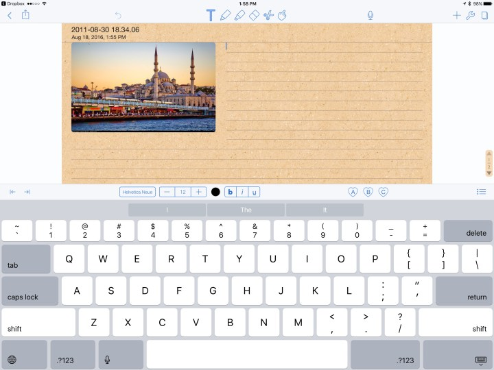 notability text entry on ipad