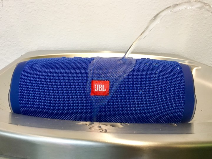 The JBL Charge 3 is waterproof and it can charge your phone.