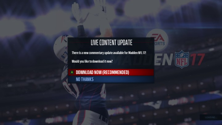 There are some live updates, but you may end up waiting for a Madden 17 patch or update to fix some problems.
