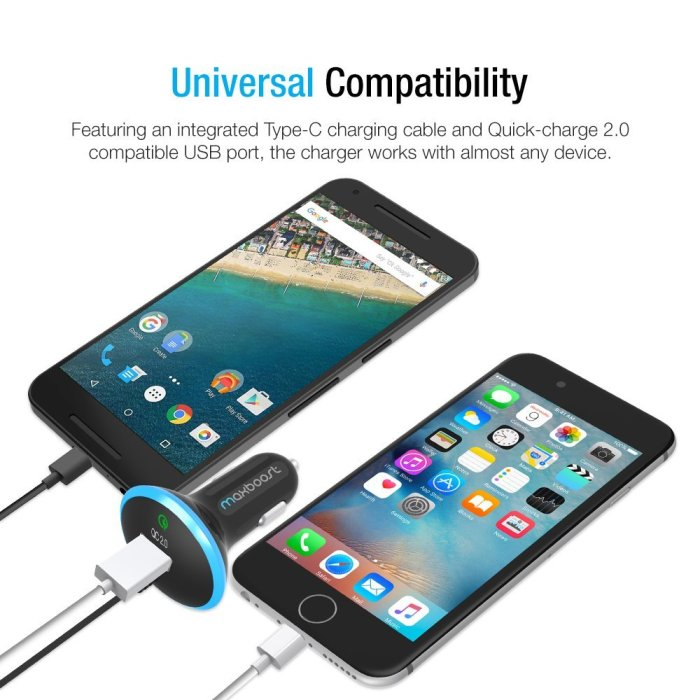 Maxboost 35w Dual Car Charger with Type-C