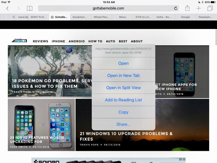 How to use Safari Split View in iOS 10.