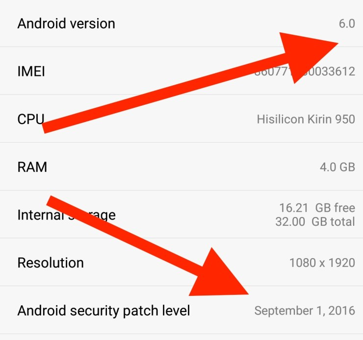 android-version-and-security-update-installed