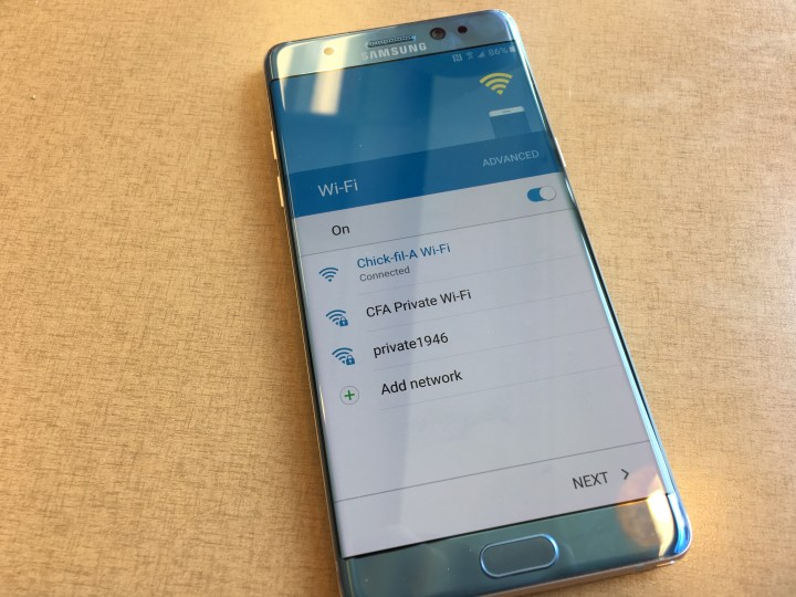 galaxy note 7 wi-fi netork chooser