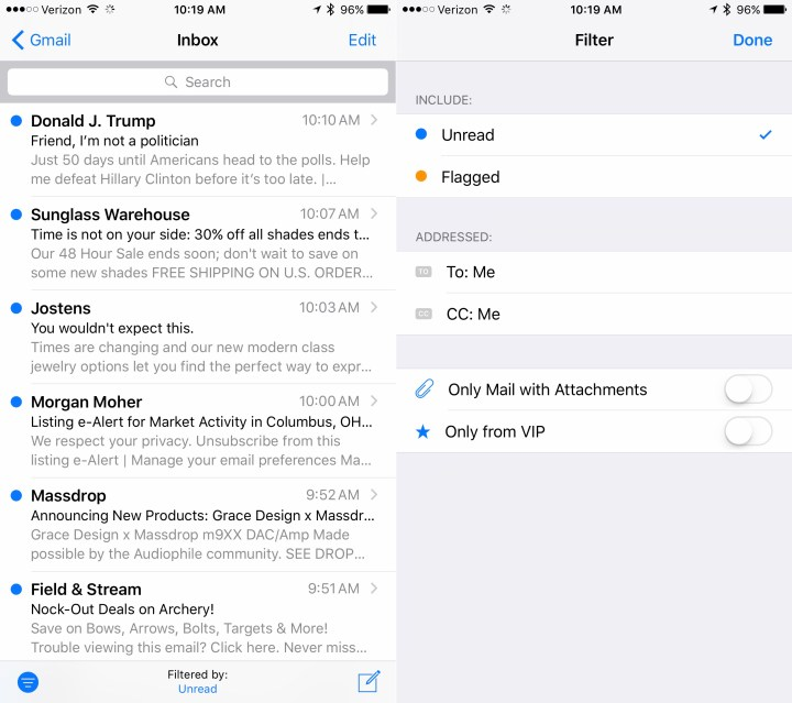 Filter Mail to show unread or other messages that you need to read.