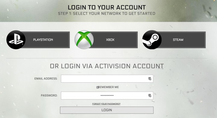 Login to and sign up for the Call of Duty: Infinite Warfare beta.