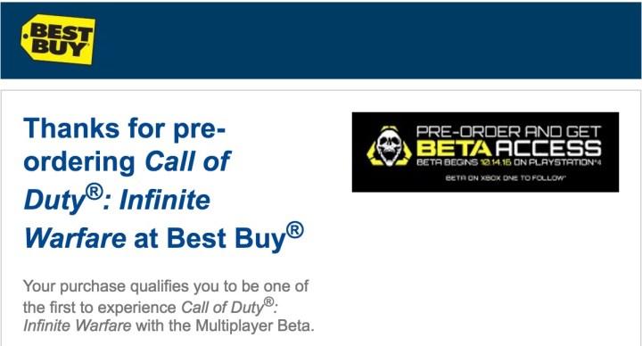 Find your Call of Duty: Infinite Warfare beta code.