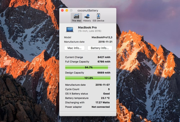 See detailed MacBook Pro battery stats.