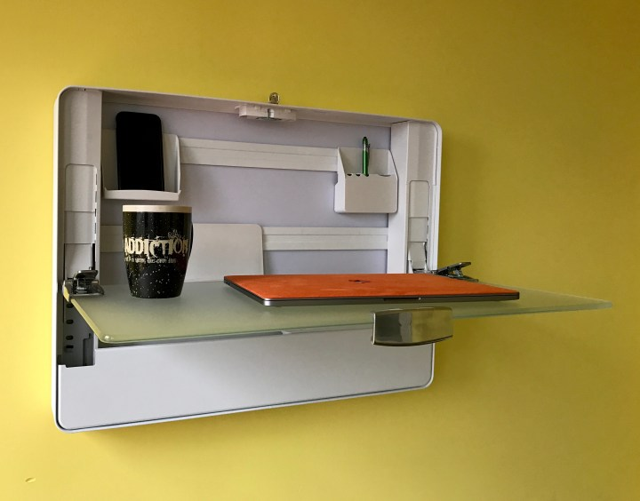 You can keep everything you need to work in the desk and there is plenty of room on the work surface.