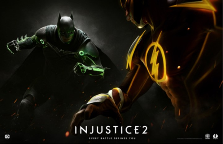 The Injustice 2 poster GameStop is offering at its stores and website.