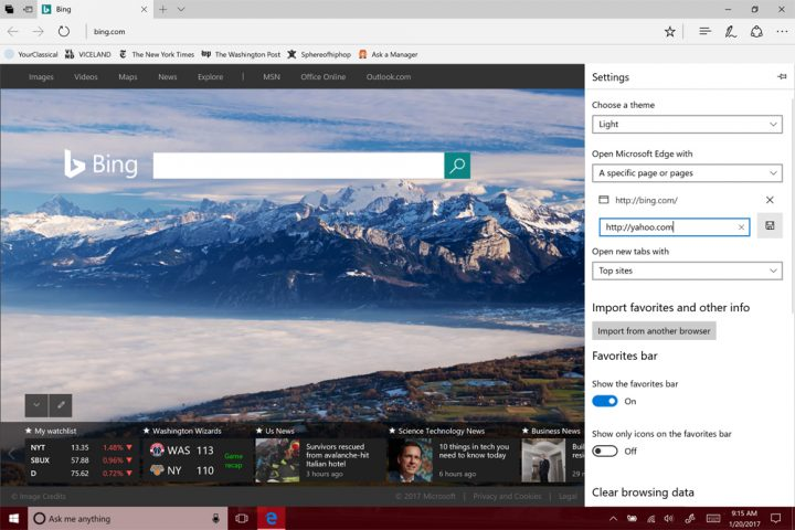 homepage in Microsoft Edge11