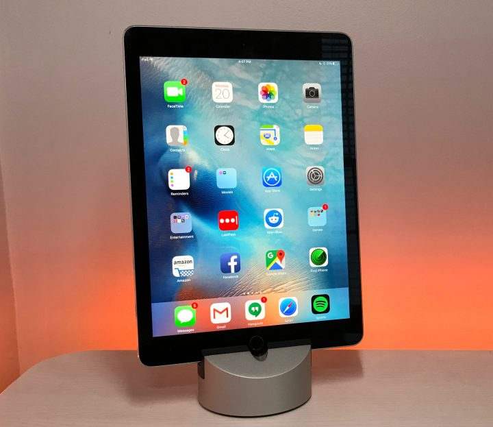 The Gravitas works with the iPad and the iPhone using different inserts.