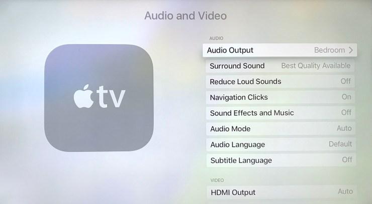 apple tv settings audio output