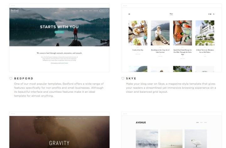 Choose a style for your website from the included Squarespace templates.
