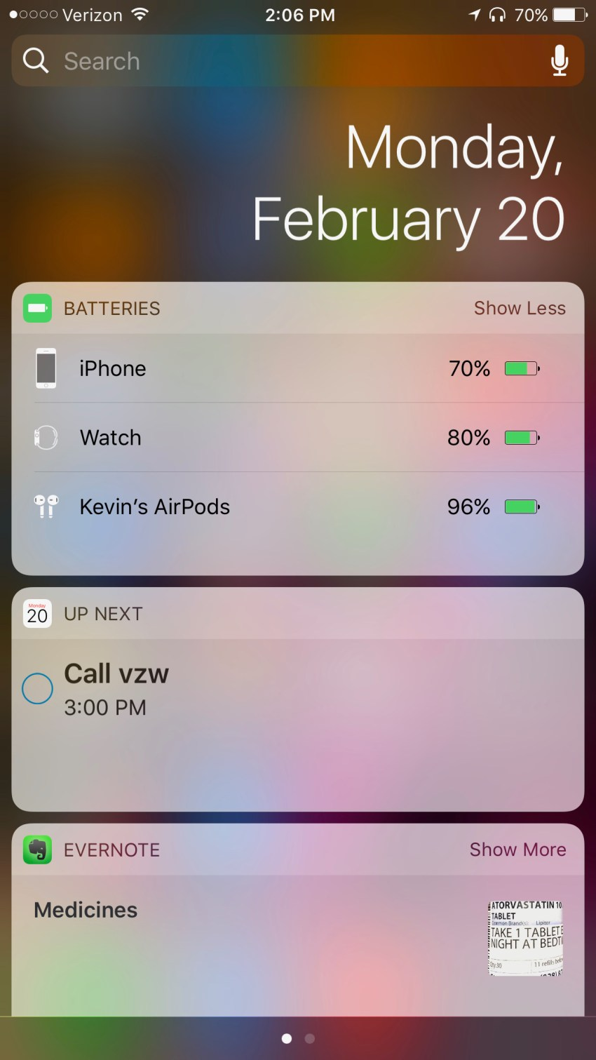 battery life indicator notifcation area