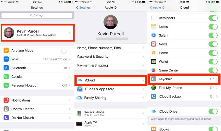 how to turn on icloud keychain on ipad