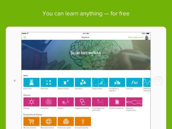 Kan Academy- best math apps for students K-12 and even college thanks to wide range of lessons