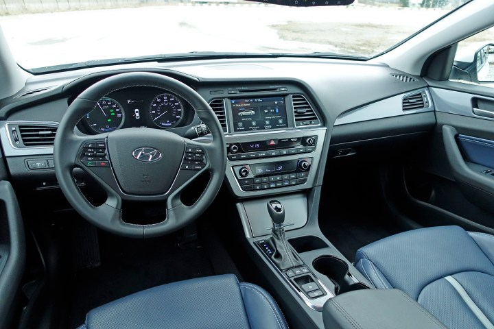 Settle in to a comfortable interior, available in blue leather.