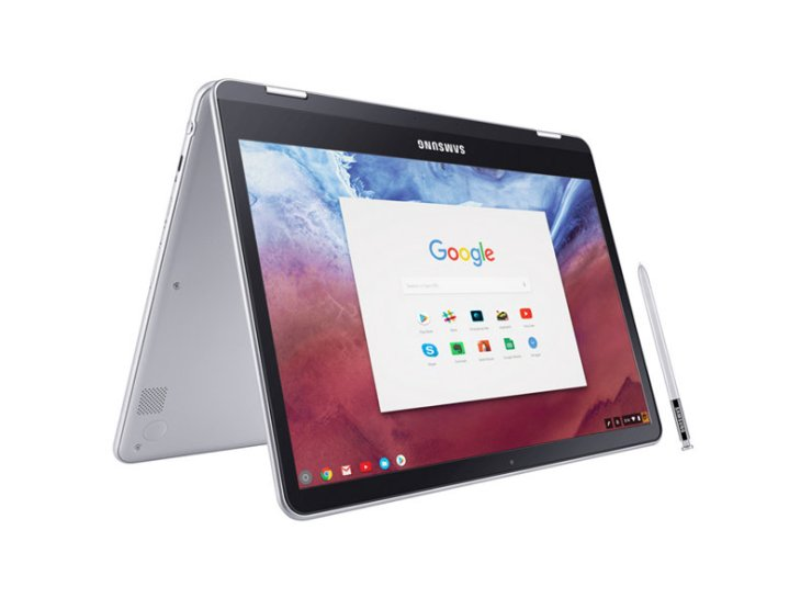 Samsung Chromebook Plus with S Pen in Tent Mode
