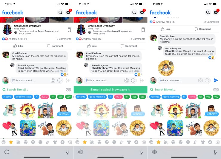 How to put Bitmoji on a Facebook comment.