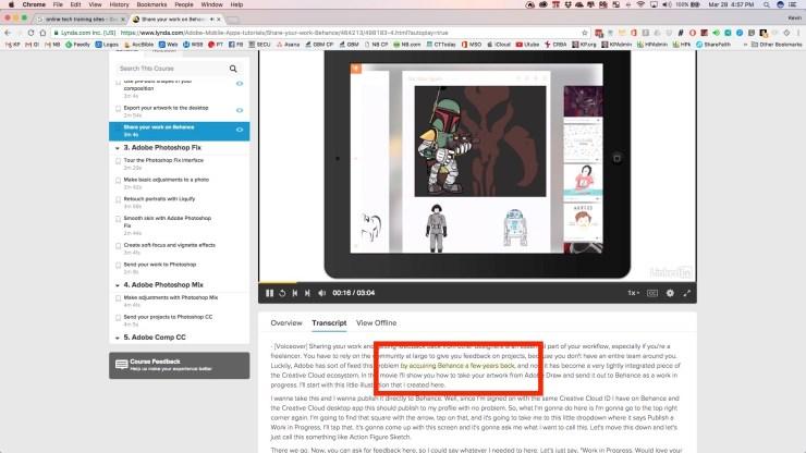 highlighted transcript from video