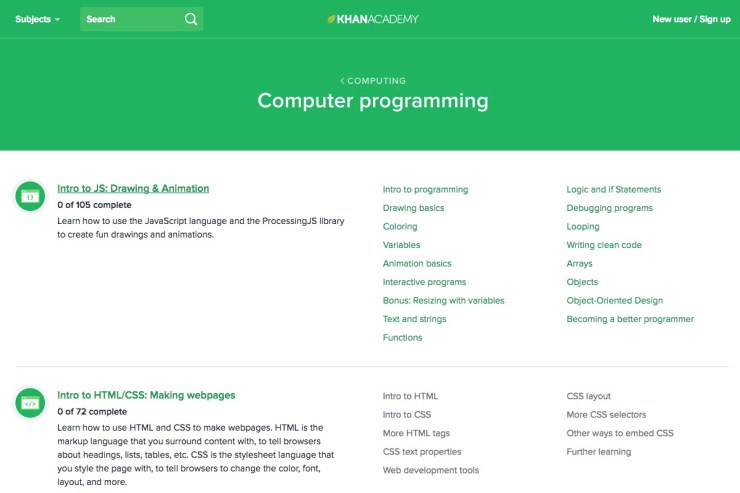khan academy computer science online courses