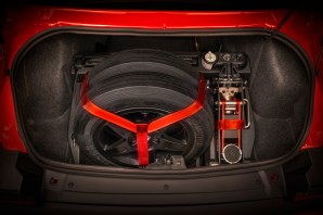 2018 Dodge Challenger SRT Demon Drag Kit features a Demon Track Pack System that fits into the SRT Demon trunk and securely holds the front runner wheels and track tools.