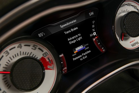 The TransBrake launch screen on the 2018 Dodge Challenger SRT Demon's 7-inch instrument cluster screen centered between the exclusive SRT Demon white face gauges.