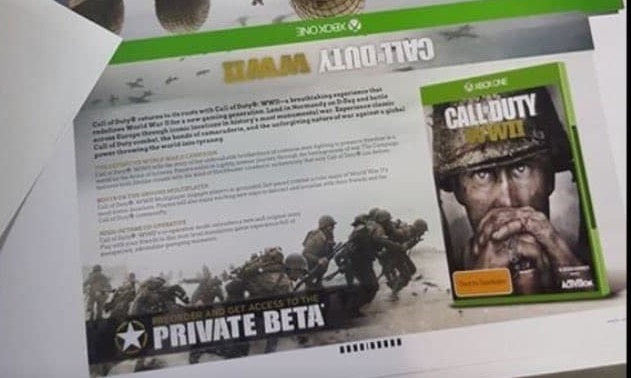 Leaked marketing material shows info for a Call of Duty: WWII beta.