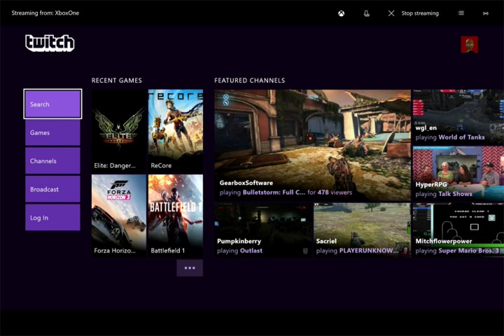Twitch on Xbox One.