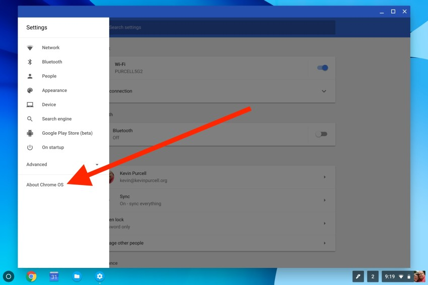 Choose About Chrome OS along the left at the bottom of the list