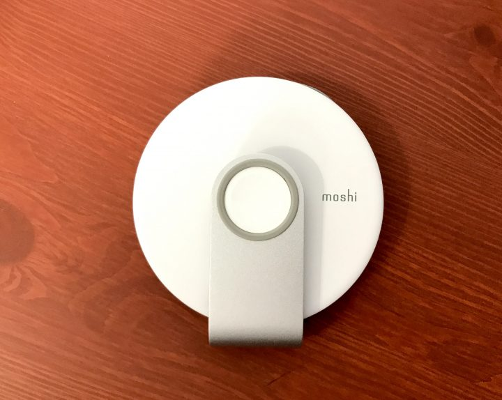 The Moshi Travel Stand for Apple Watch folds flat for and holds your charging cable.