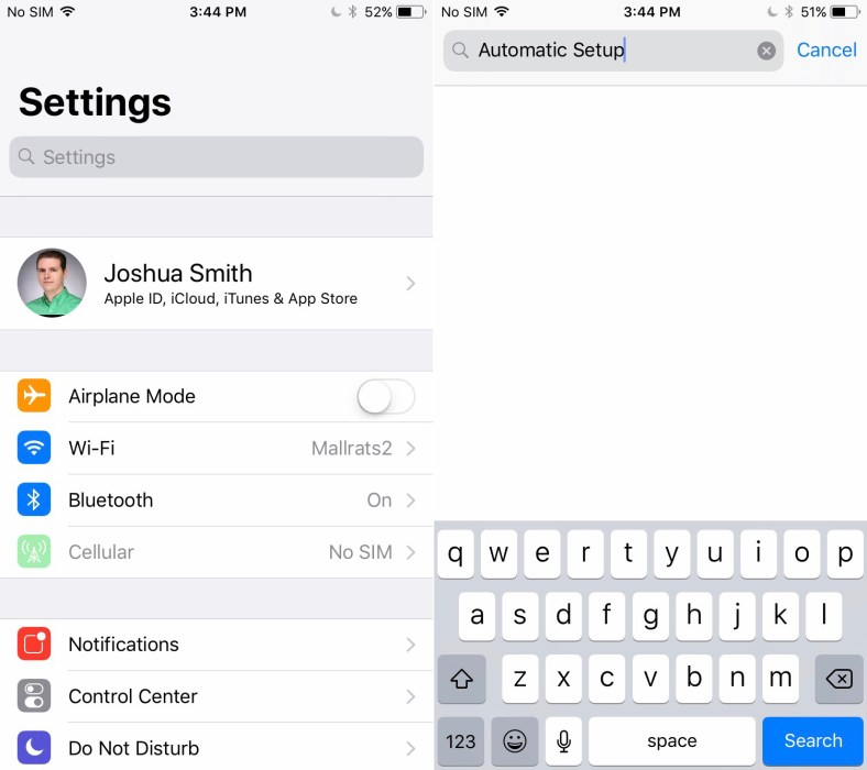 Automatic Setup for a New iPhone or iPad