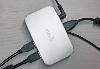 Connect all your accessories to the MacBook Pro with the Moshi symbus and one cable.