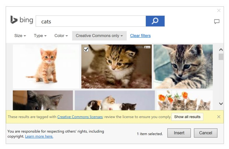 bing image search in onenote image insert