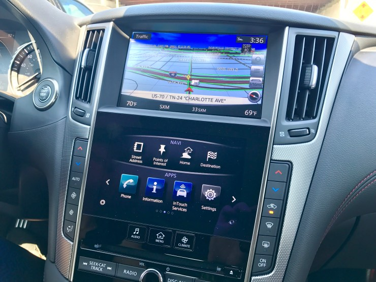 The dual screen system in the Infiniti Q50 combines a large display screen with a smaller touch screen to show you more information at a glance.