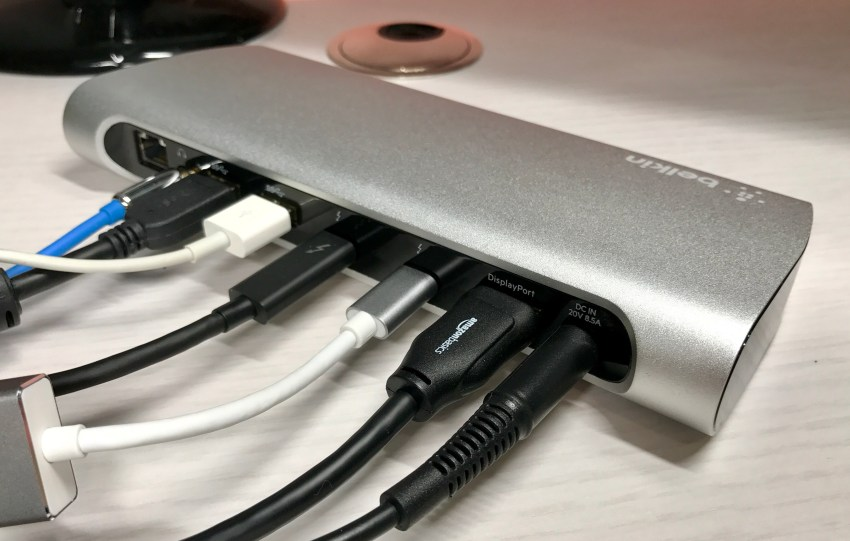 Connect a desktop's worth of accessories to your MacBook Pro with a single cable.