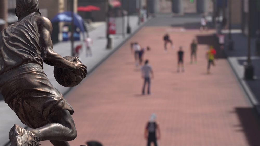 "La rue principale du ""Neighborhood"" et la statue d'Allen Iverson, premier ""cover athlete"" d'NBA 2K."
