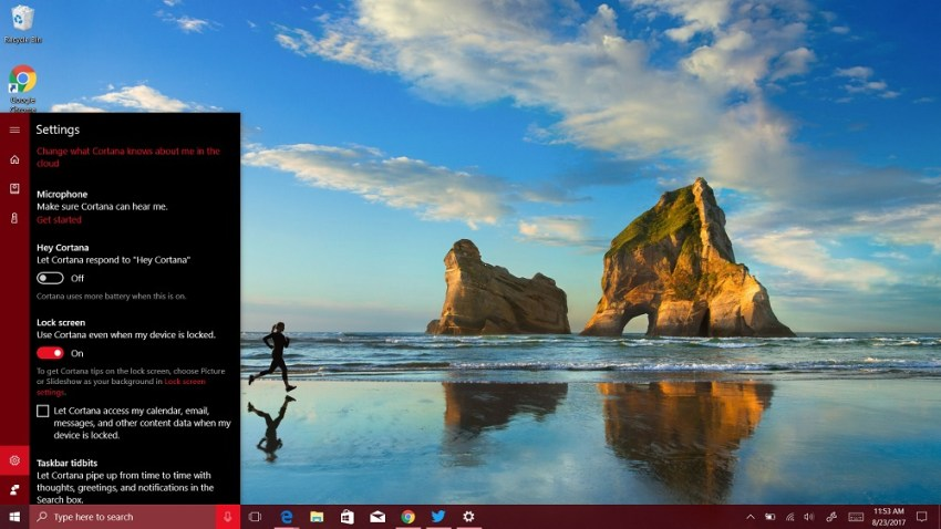 Click on the Change What Cortana Knows About Me in the Cloud message at the  top of the pop-up window.