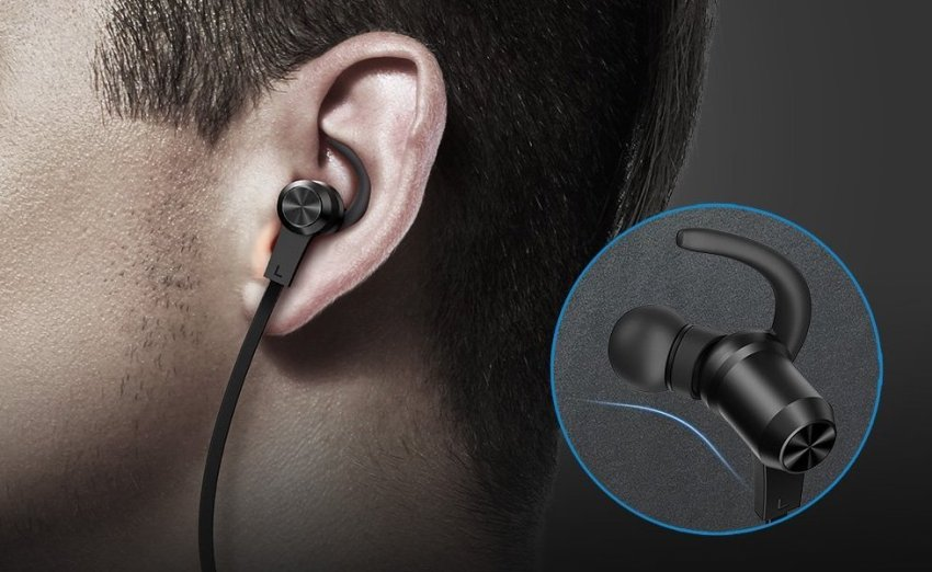 Small tips secure the earbuds to your ears even when active.